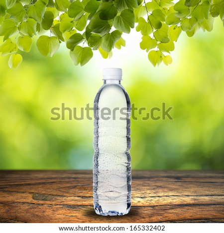 Water Bottle on wood table with summer scene background with leaf from tree - stock photo