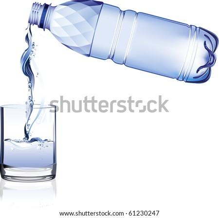 Water bottle. Raster version of vector illustration. - stock photo