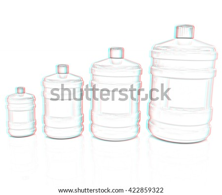 water bottles. Pencil drawing. 3D illustration. Anaglyph. View with red/cyan glasses to see in 3D. - stock photo
