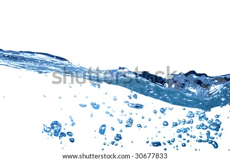 water bubble and wave on white background
