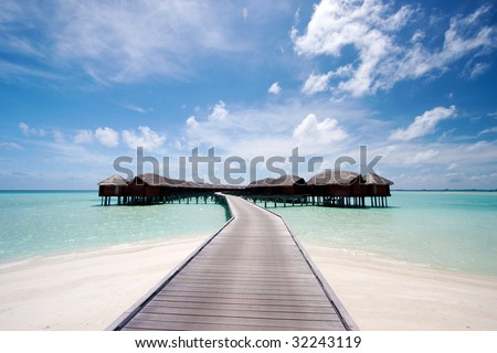 water bungalows in the tropics