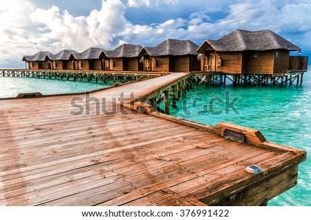 Water bungalows. Maldive Islands - stock photo