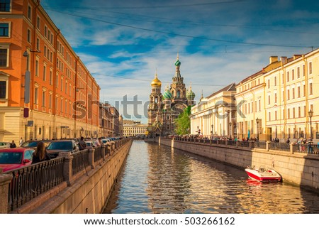 Water canal and Church of the Savior on Spilled Blood at sunset in St. Petersburg. Russia.