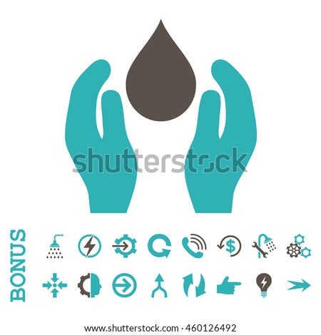 Water Care glyph bicolor icon. Image style is a flat iconic symbol, grey and cyan colors, white background.