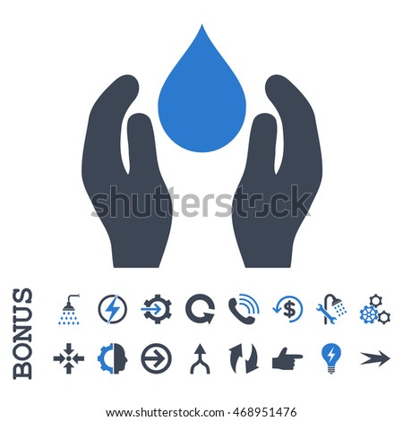 Water Care glyph bicolor icon. Image style is a flat pictogram symbol, smooth blue colors, white background.