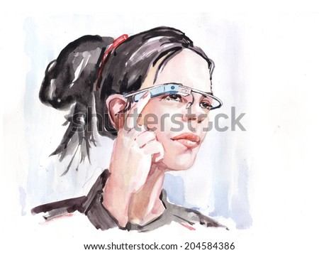 Water color drawing paining young woman face portrait wearing technology augmented virtual reality glasses. Future hightech concept. High resolution conceptual watercolor draw collection.  - stock photo