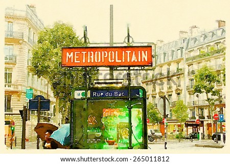 water color illustration metropolitan sign paris  - stock photo