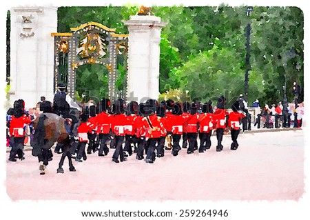 water color london guards - stock photo