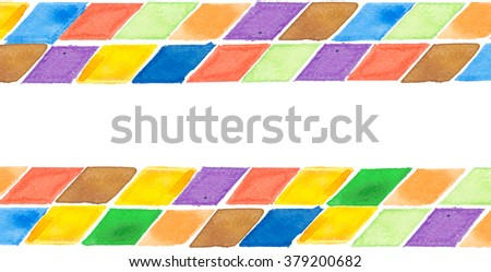 Water color of rhombus geometry graphic pattern background