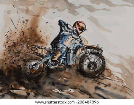Water color painted dirt bike driving fast through dirt
