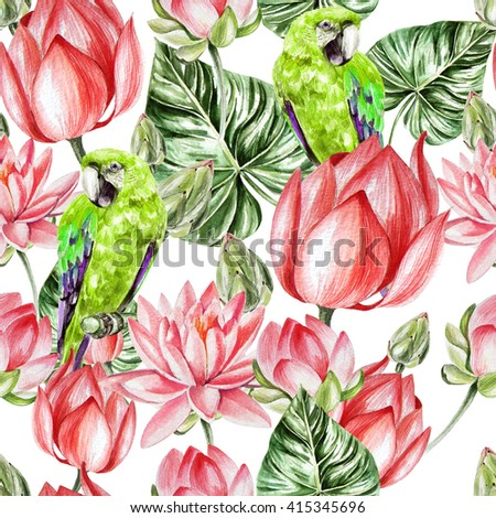 Water color pattern with lotus and parrot. Illustration - stock photo