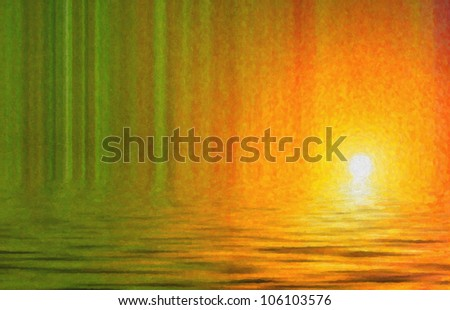 Water color picture. Ocean and sun and green shades.Digital structure of painting. - stock photo