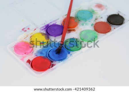 Water color set. Painting set. Kids painting set. - stock photo