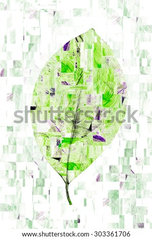 water color strokes painting in technical cut and paste is formed leaves. - stock photo