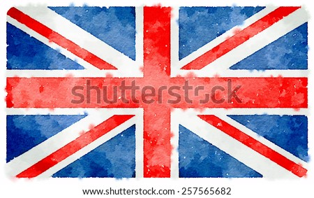 water color union jack flag - stock photo