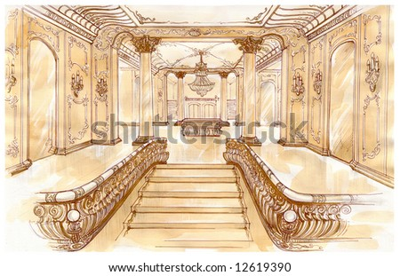 Water-colour sketch of an interior palace