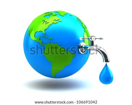 water crane on green earth - stock photo