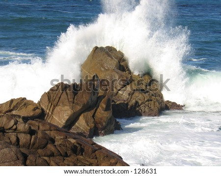 Water Crash on rocks - stock photo