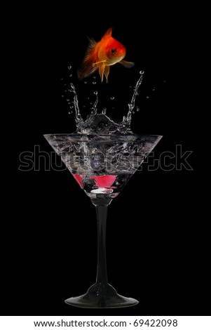 Water crown in cocktail glasses - stock photo