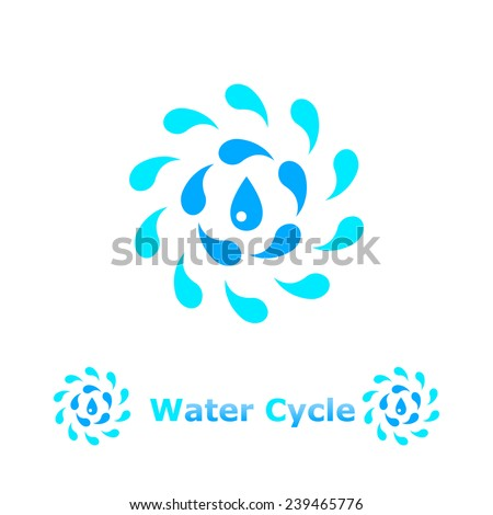 Water cycle concept illustration on white background, 2d, raster - stock photo