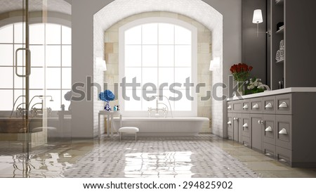 Water damage in a bath with bathtub after a flood (3D Rendering) - stock photo