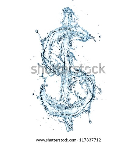 Water Dollar symbol - stock photo