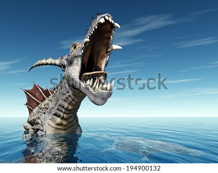 Water Dragon Computer generated 3D illustration - stock photo