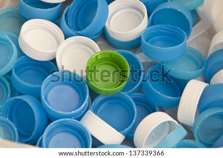 Water dringking recycle plastic cap - stock photo