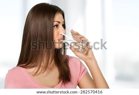 Water, Drinking, Women. - stock photo