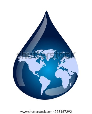 water drop and world map - stock photo