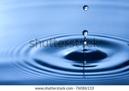 Water drop close up in blue.