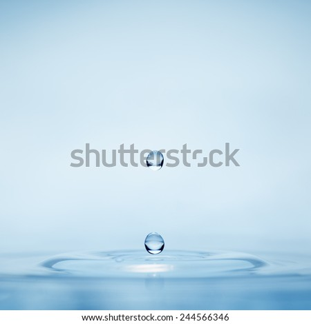Water drop falling into water making a perfect concentric circles Close-up - stock photo