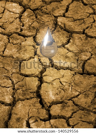 Water drop falling on parched, cracked ground.  Concept for importance of water resources, breaking the drought. - stock photo