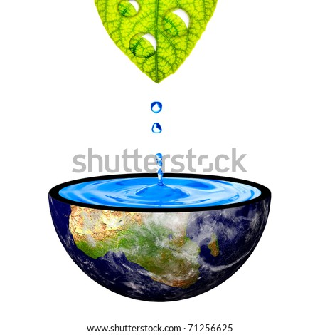 Water drop from leaf on to the earth. Concept for environmental conservation. Data source: NASA - stock photo
