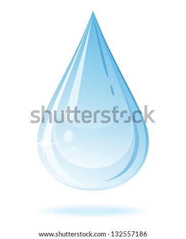 Water drop isolated on a white background. Raster version.