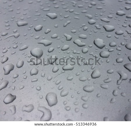 Water drop on a silver surface background
