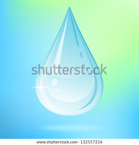 Water drop on colored background. Raster version. - stock photo