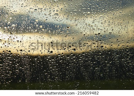 WATER DROP ON GLASS WALL - stock photo