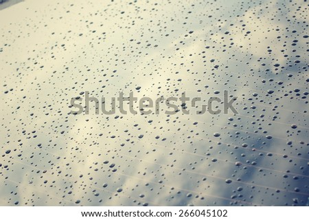 Water drop on glass - windshield rain. - stock photo