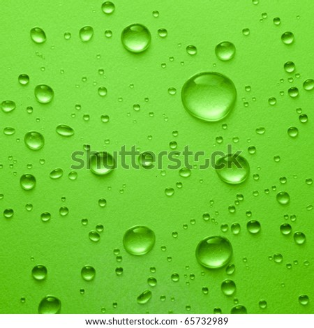 Water drop on green background