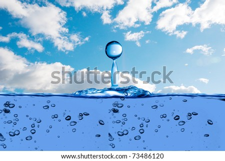water drop on ocean with beautiful sky background