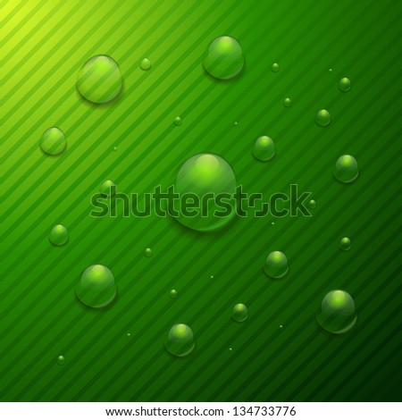 water drop on the green background. rasterized/bitmap version - stock photo