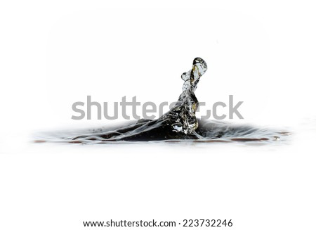 Water drop or bubble falling into water surface and making a crown. Splash background. Isolation over white background. - stock photo