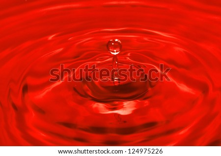 water drop red - stock photo
