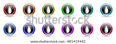 water drop round glossy colorful web icon set