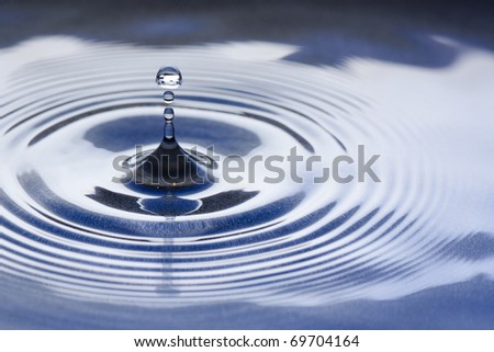 Water drop splashing macro with waves - stock photo