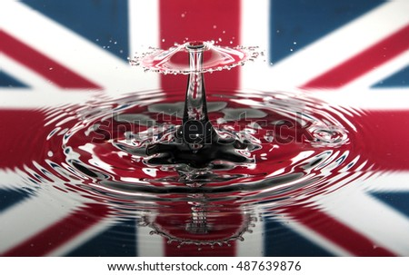 Water droplet and crown with union jack background and reflection