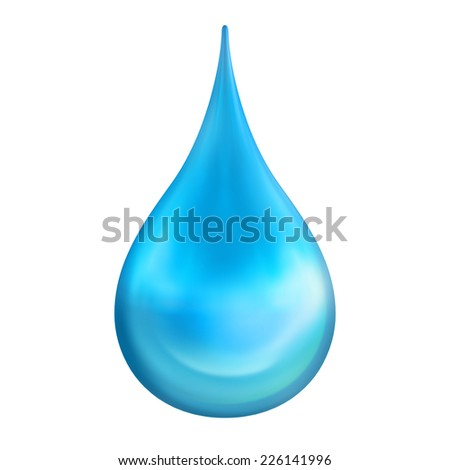 Water droplet falling on white background. Clipping path included.