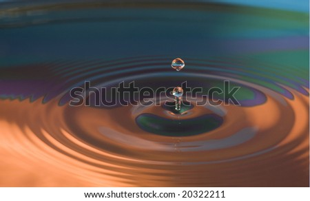 Water droplets close up in vibrant colors