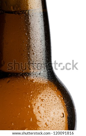 Water droplets on a beer bottle with white background - stock photo